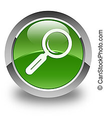Magnifying glass icon glossy soft green round button