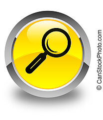 Magnifying glass icon glossy yellow round button