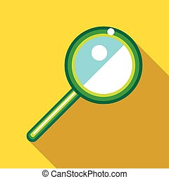 Magnifying glass icon in flat style