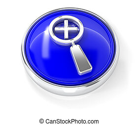 Magnifying glass icon on glossy blue round button