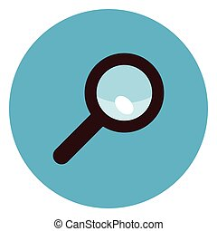 Magnifying Glass Icon On Round Blue Background