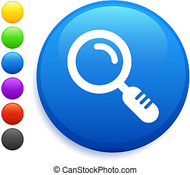 magnifying glass icon on round internet button
