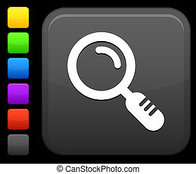 magnifying glass icon on square internet button