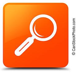 Magnifying glass icon orange square button