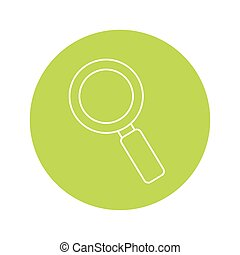 magnifying glass icon over green circle and white background