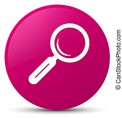 Magnifying glass icon pink round button