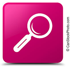 Magnifying glass icon pink square button