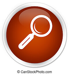 Magnifying glass icon premium brown round button
