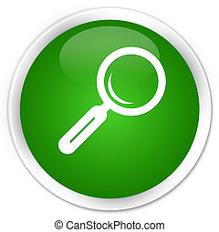 Magnifying glass icon premium green round button