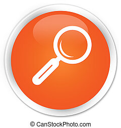 Magnifying glass icon premium orange round button