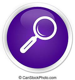 Magnifying glass icon premium purple round button