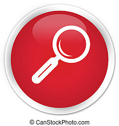 Magnifying glass icon premium red round button