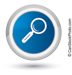 Magnifying glass icon prime blue round button