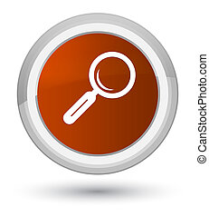 Magnifying glass icon prime brown round button