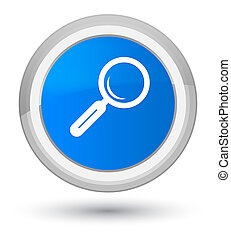Magnifying glass icon prime cyan blue round button