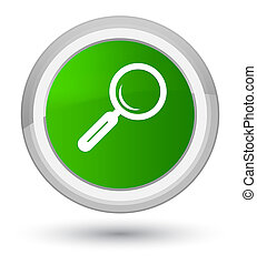 Magnifying glass icon prime green round button