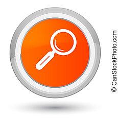 Magnifying glass icon prime orange round button - Magnifying...