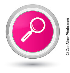 Magnifying glass icon prime pink round button