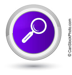 Magnifying glass icon prime purple round button