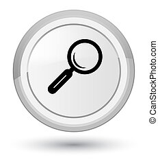 Magnifying glass icon prime white round button