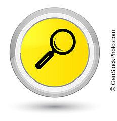 Magnifying glass icon prime yellow round button
