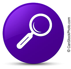 Magnifying glass icon purple round button