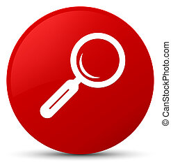 Magnifying glass icon red round button