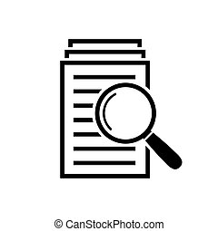 Magnifying glass icon, search documents sign