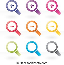 magnifying glass icon set