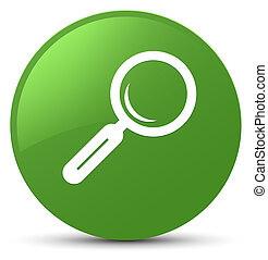 Magnifying glass icon soft green round button