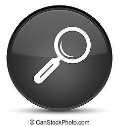Magnifying glass icon special black round button