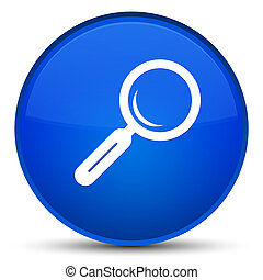 Magnifying glass icon special blue round button