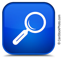 Magnifying glass icon special blue square button