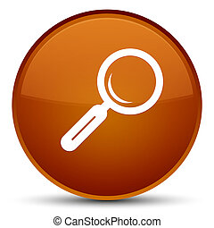 Magnifying glass icon special brown round button