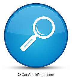 Magnifying glass icon special cyan blue round button