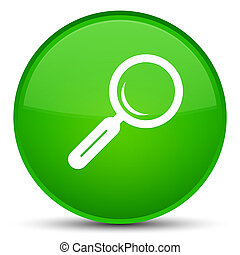 Magnifying glass icon special green round button