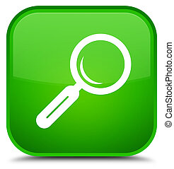 Magnifying glass icon special green square button