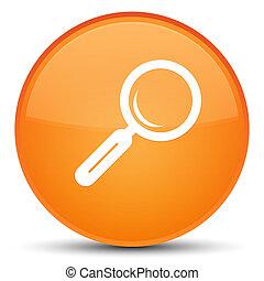 Magnifying glass icon special orange round button