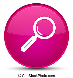 Magnifying glass icon special pink round button