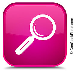 Magnifying glass icon special pink square button