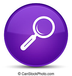 Magnifying glass icon special purple round button