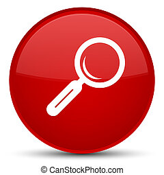 Magnifying glass icon special red round button