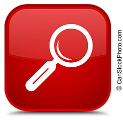 Magnifying glass icon special red square button