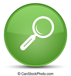 Magnifying glass icon special soft green round button