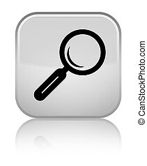 Magnifying glass icon special white square button