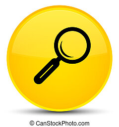 Magnifying glass icon special yellow round button