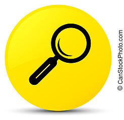 Magnifying glass icon yellow round button