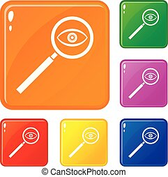 Magnifying glass icons set vector color