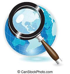 Illustration, blue globe under magnifying glass on white background