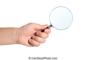 Magnifying glass in hand isolated on white background.